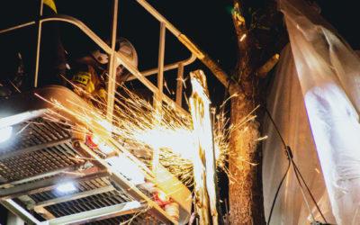 Hala pneumatyczna w koronach drzew – ul. Kościelna, Łajski