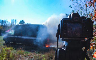 Próba pożarowa samochodu – Legionowo